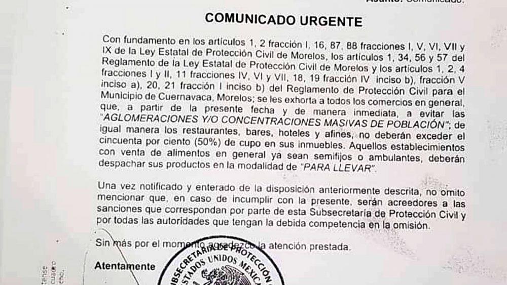 Exhortan PC de Cuernavaca a hoteles, bares y restaurantes a funcionar al 50%